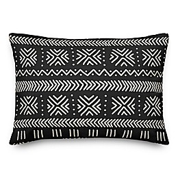 Designs Direct Mudcloth Oblong Outdoor Throw Pillow in Black