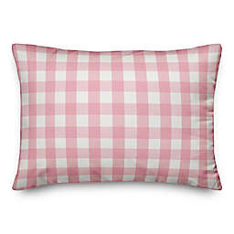 Designs Direct Buffalo Check Oblong Outdoor Throw Pillow in Pink