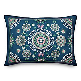 Designs Direct Mandala Oblong Outdoor Throw Pillow in Blue