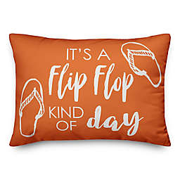 Designs Direct Flip Flop Kind of Day Oblong Outdoor Throw Pillow in Orange/White
