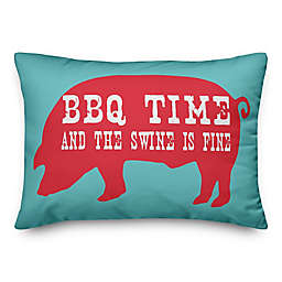 """Designs Direct """"BBQ Time"""" Oblong Outdoor Throw Pillow in Blue/Red"""