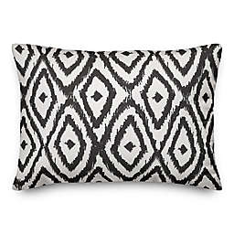 Designs Direct Ikat Diamonds Oblong Outdoor Throw Pillow in Black/White