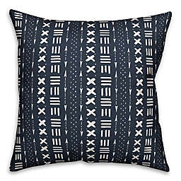 Designs Direct Mudcloth Square Outdoor Throw Pillow in Navy