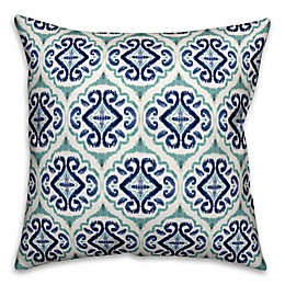 Designs Direct Watercolor Medallion Indoor/Outdoor Square Throw Pillow in Turquoise/Blue