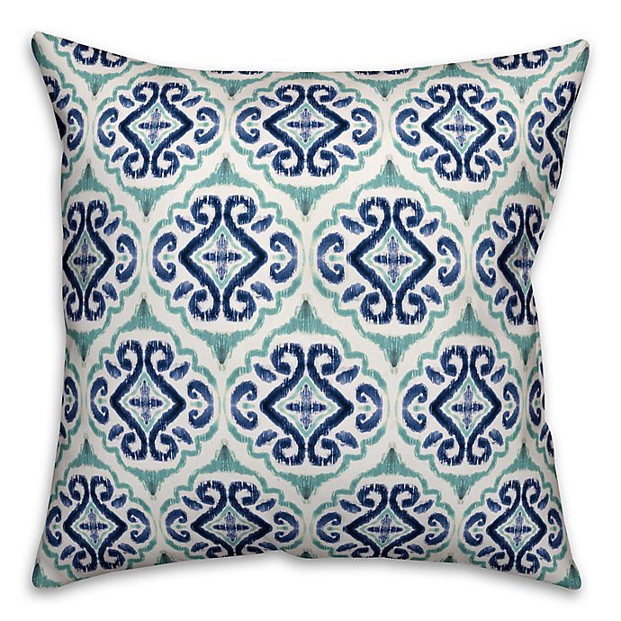 Alternate image 1 for Designs Direct Watercolor Medallion Indoor/Outdoor Square Throw Pillow in Turquoise/Blue