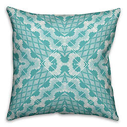 Designs Direct Boho Indoor/Outdoor Square Throw Pillow in Teal/White
