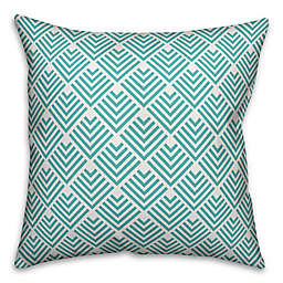 Designs Direct Diamond Indoor/Outdoor Square Throw Pillow in Teal/White