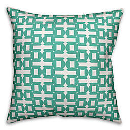 Designs Direct Geometric Indoor/Outdoor Square Throw Pillow in Teal/White