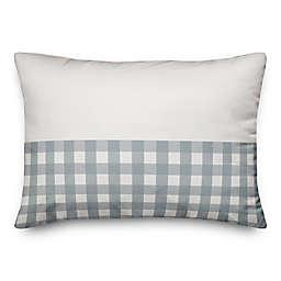 Designs Direct Gingham Indoor/Outdoor Oblong Throw Pillow in Blue/Grey