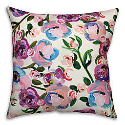 Designs Direct Painted Floral Indoor/Outdoor Square Throw PIllow in Lavender