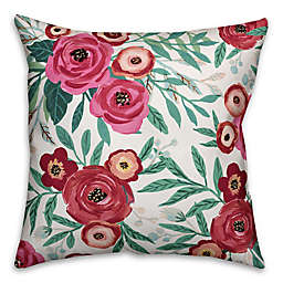 Designs Direct Painted Floral Indoor/Outdoor Square Throw PIllow in Pink