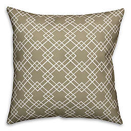 Designs Direct Diamond Indoor/Outdoor Square Throw Pillow in Taupe