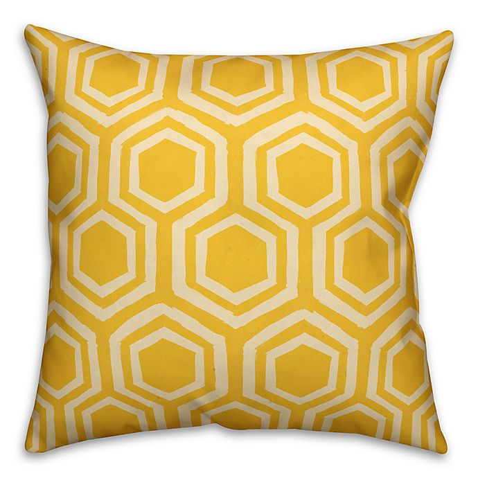 Alternate image 1 for Designs Direct Lemon Geometric Indoor/Outdoor Square Throw Pillow in Yellow