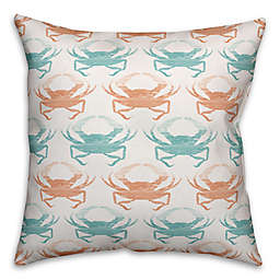 Designs Direct Coastal Crab Indoor/Outdoor Square Throw Pillow in Teal/Coral