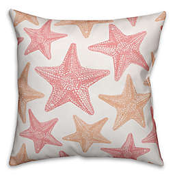 Designs Direct Coastal Starfish Indoor/Outdoor Square Throw Pillow in Pink