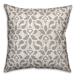 Designs Direct Floral Indoor/Outdoor Square Throw Pillow in Taupe
