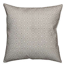 Designs Direct Tile Pattern Indoor/Outdoor Square Throw Pillow in Taupe