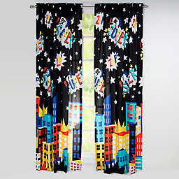 """Learning Linens """"Be Super"""" 84-Inch Window Curtain Panel in Black/Blue"""