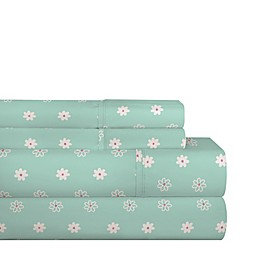 Pointehaven Daisies 200-Thread-Count Cotton Percale Twin XL Sheet Set in Teal/White