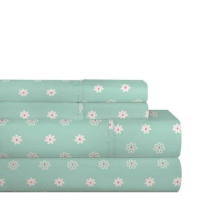 Alternate image 1 for Pointehaven Daisies 200-Thread-Count Cotton Percale Twin XL Sheet Set in Teal/White