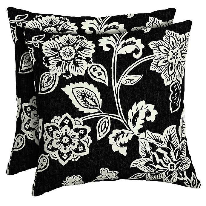 Alternate image 1 for Arden Selections Ashland Jacobean Outdoor Square Throw Pillows in Black (Set of 2)