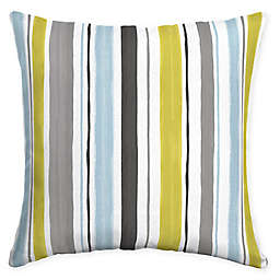Selections by Arden Kenda Stripe Square Outdoor Throw Pillow in Cream
