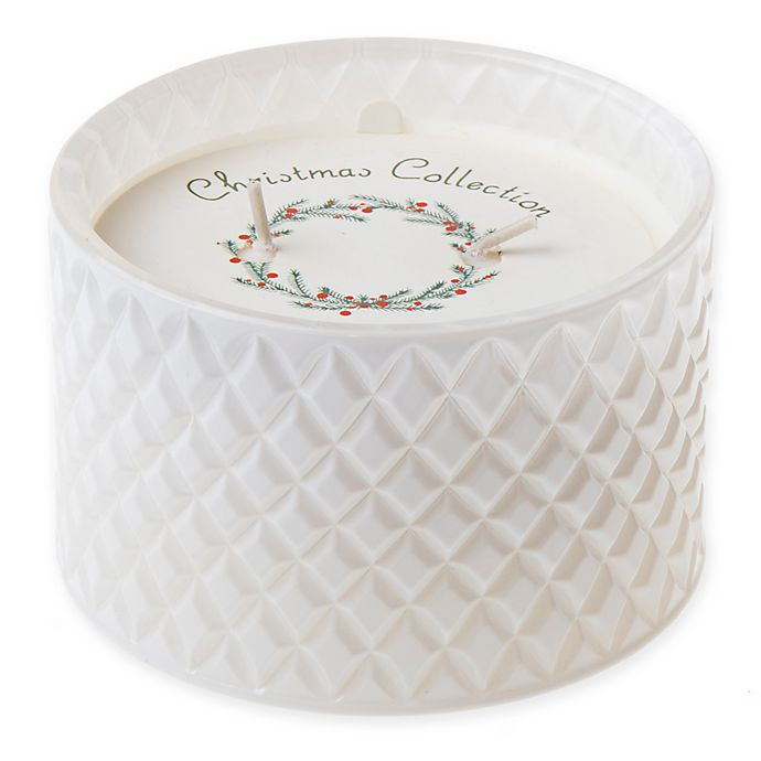 Alternate image 1 for Winter White Molded Glass 10 oz. Jar Candle