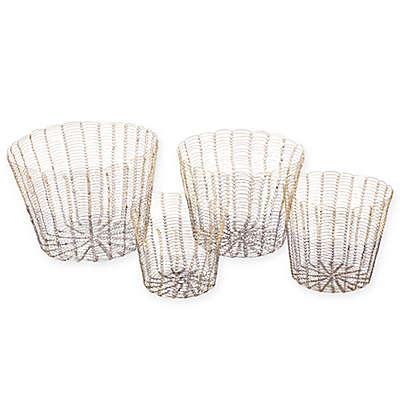Madison Park 4-Piece Buono Baskets in Gold