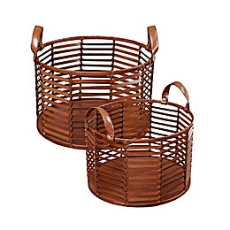 Madison Park Signature Newport Leather Strip Basket in Brown