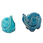 Madison Park Ceramic Elephant Decor in Aqua (Set of 2)
