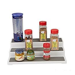 Mind Reader 3-Tier Cabinet Step Storage Shelf Organizer in Grey