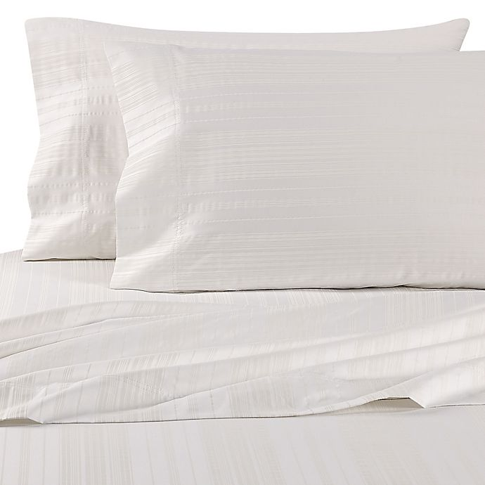 Alternate image 1 for Simply Subtle 300-Thread-Count Stripe King Pillowcases in White (Set of 2)