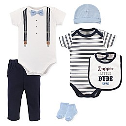Little Treasures Dapper Bow Tie 6-Piece Layette Set in Blue