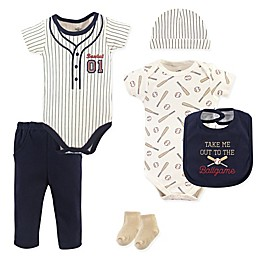 Little Treasures 6-Piece Baseball Layette Set in Beige