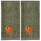 Harvest Pumpkin Embroidered Hand Towels in Sage (Set of 2)