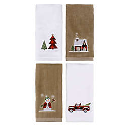 Holiday Plaid Fingertip Towels (Set of 4)