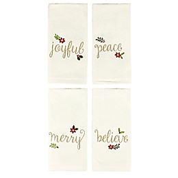 Holiday Script Fingertip Towels (Set of 4)