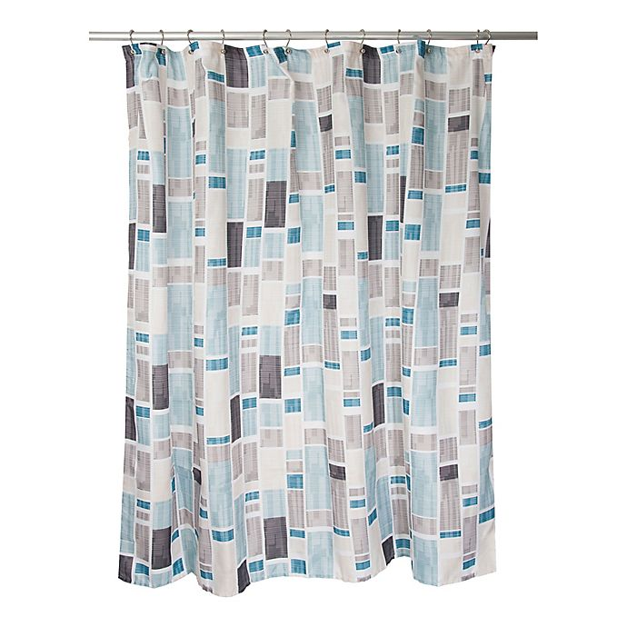 Alternate image 1 for Famous Home® Urban City Shower Curtain in Aqua/Taupe