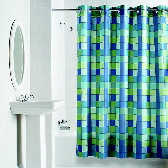 Alternate image 1 for Hookless® Checkmate Shower Curtain in Blue/Green