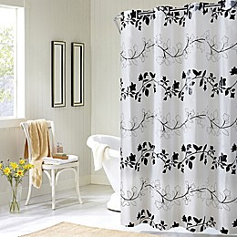 Hookless® Floral Shower Curtain in Black/White