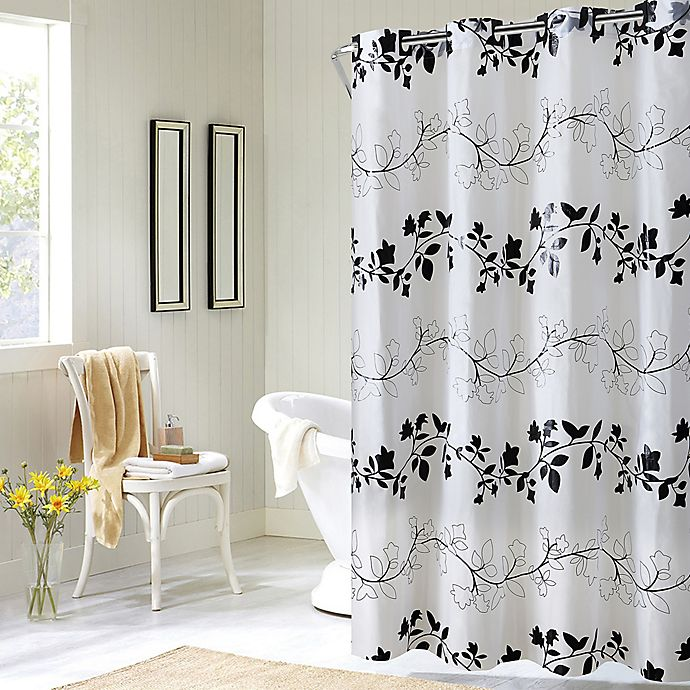 Alternate image 1 for Hookless® Floral Shower Curtain in Black/White
