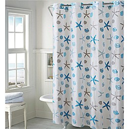 Hookless® Seashell Shower Curtain in Blue/Grey