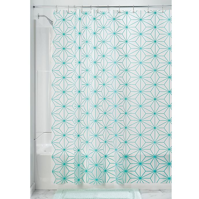Alternate image 1 for InterDesign® Geo Star Shower Curtain in Teal