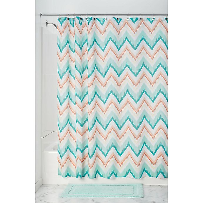 Alternate image 1 for InterDesign® Ikat Chevron Shower Curtain in Coral/Teal