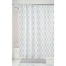 InterDesign® Lattice Fabric Shower Curtain in Mint/Grey