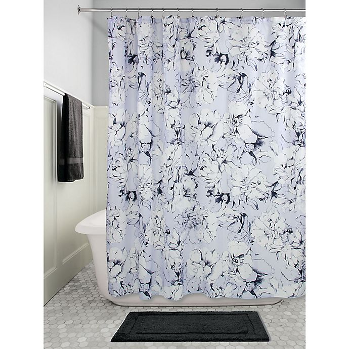 Alternate image 1 for InterDesign® Floral Shower Curtain in Slate Blue Chalk