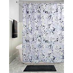 InterDesign® Floral Shower Curtain in Slate Blue Chalk