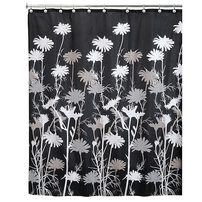 Alternate image 1 for InterDesign® Daizy Shower Curtain in Black
