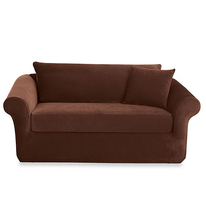 Sure Fit® Stretch Sterling Chocolate 3-Piece Sofa Slipcover