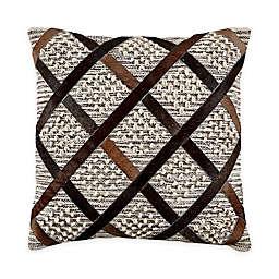 Cloud9 Design Diamonds Hair-on Hide Throw Pillow in Brown